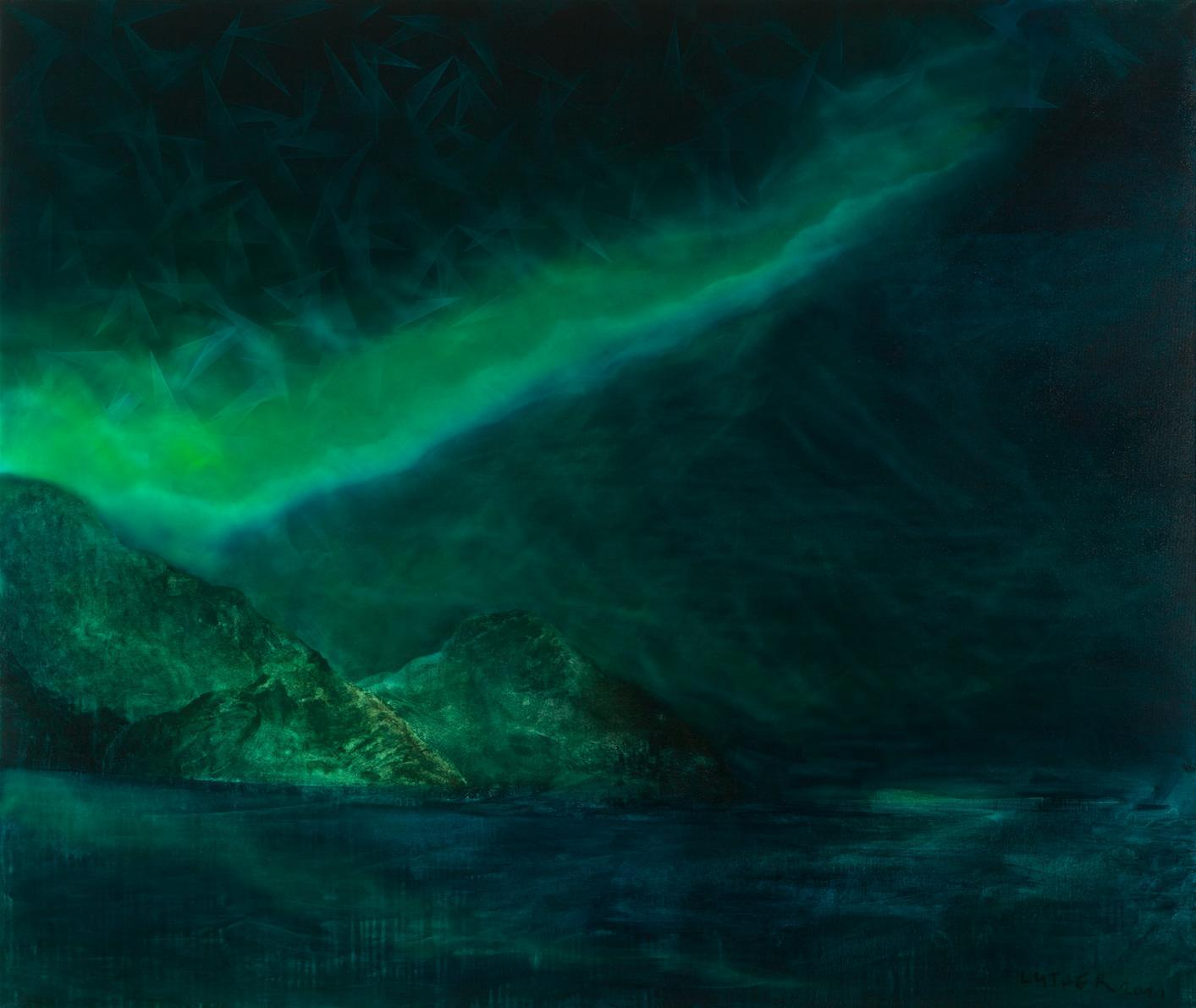NORDLYS 2011<br>Oil on canvas 59 x 70.9 in.<br> Collection SØR | Rusche, Oelde | Berlin<br>© Kai Luther|VG Bild-Kunst, Bonn 2017