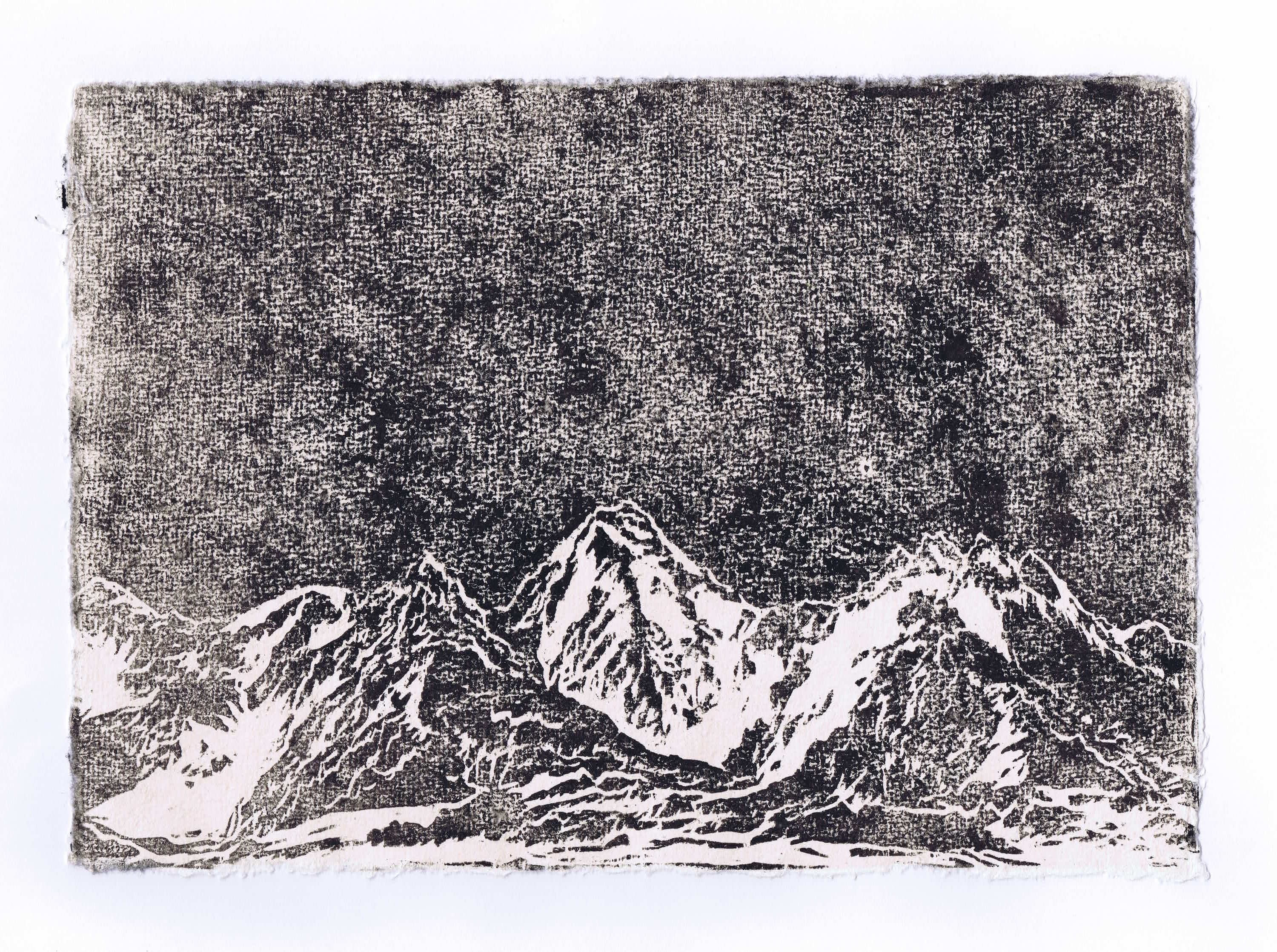 GASHERBRUM I 2016<br>Woodcut on handmade paper 7.9 x 11.8 in. <br>© Kai Luther|VG Bild-Kunst, Bonn 2017