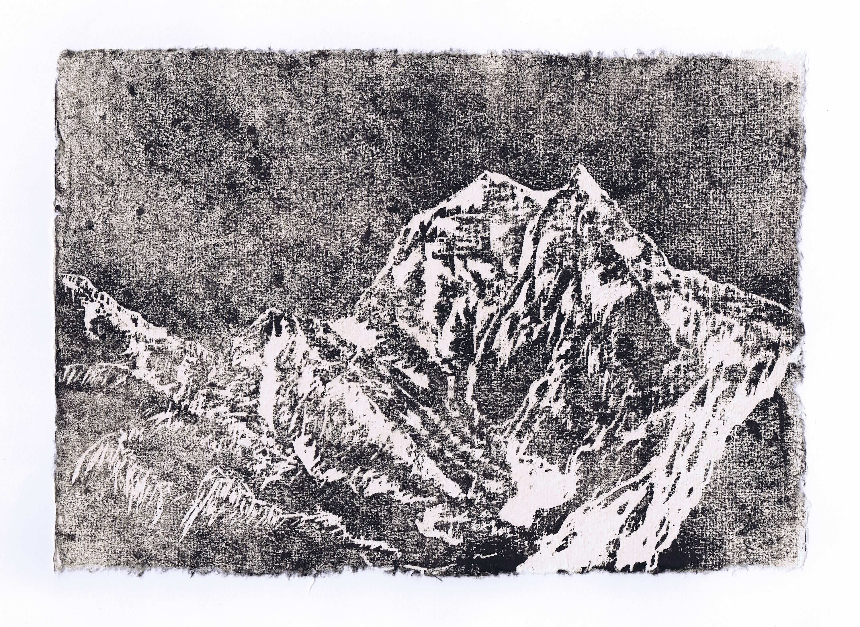 MANASLU 2016<br>Woodcut on handmade paper