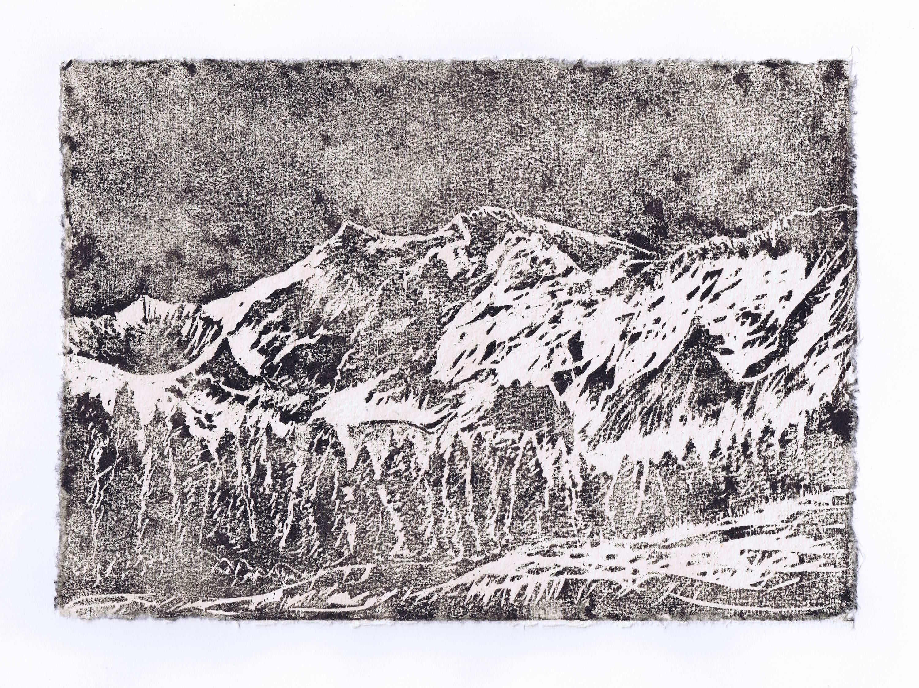 NANGA PARBAT 2016<br>Woodcut on handmade paper 7.9 x 11.8 in.<br>© Kai Luther|VG Bild-Kunst, Bonn 2017