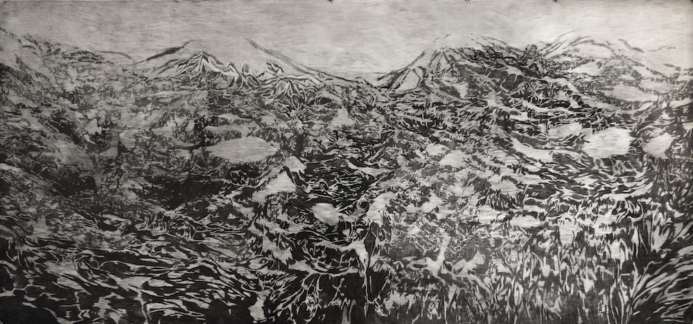 LANDSCAPE 2016<br>Black and white charcoal on paper 157.5 x 59.1 in.<br>© 2017 The Artist|Pine Wood Fine Art