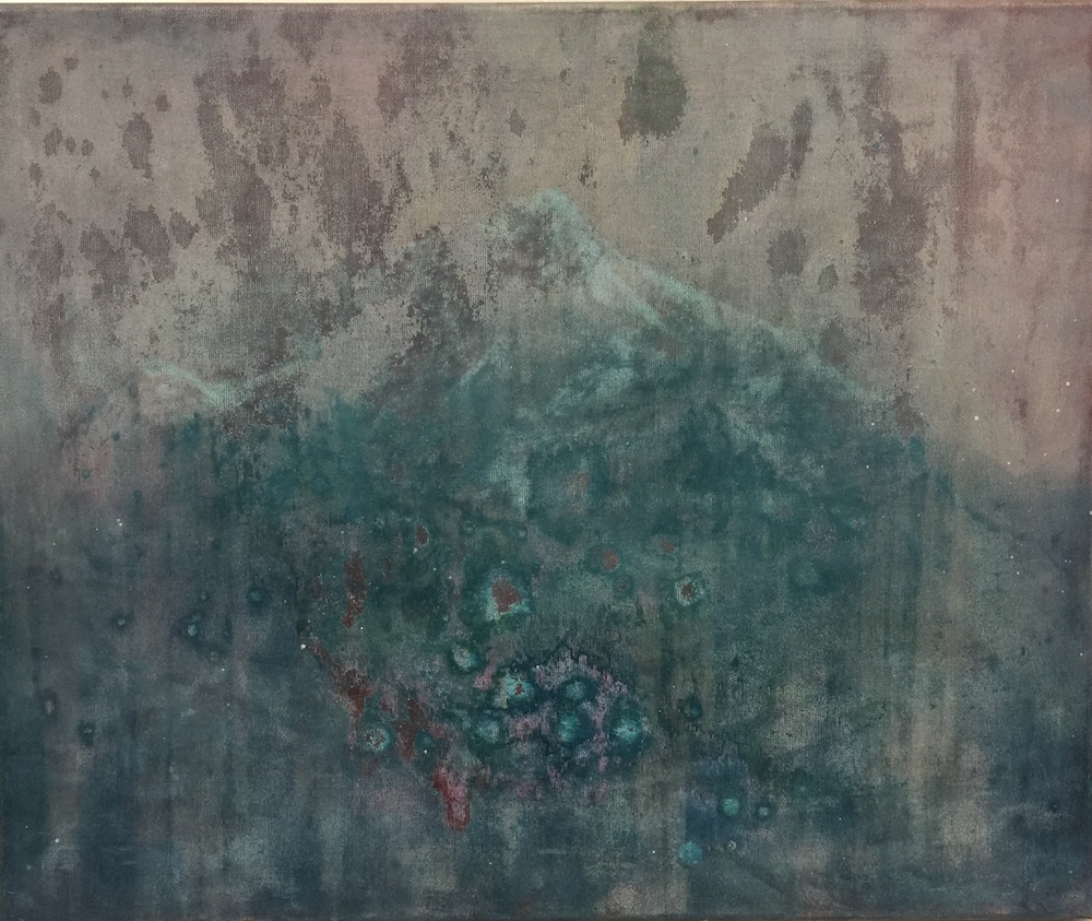 MAKALU 2017<br>Oil on canvas 19.7 x 23.6 in. <br>© Kai Luther|VG Bild-Kunst, Bonn 2017
