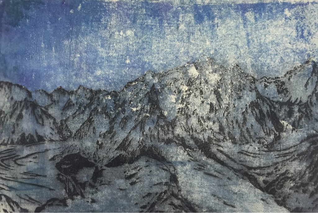 BROAD PEAK, WESTERN SPUR 2017<br>Wood cut, oil and acryl on handmade paper on MDF