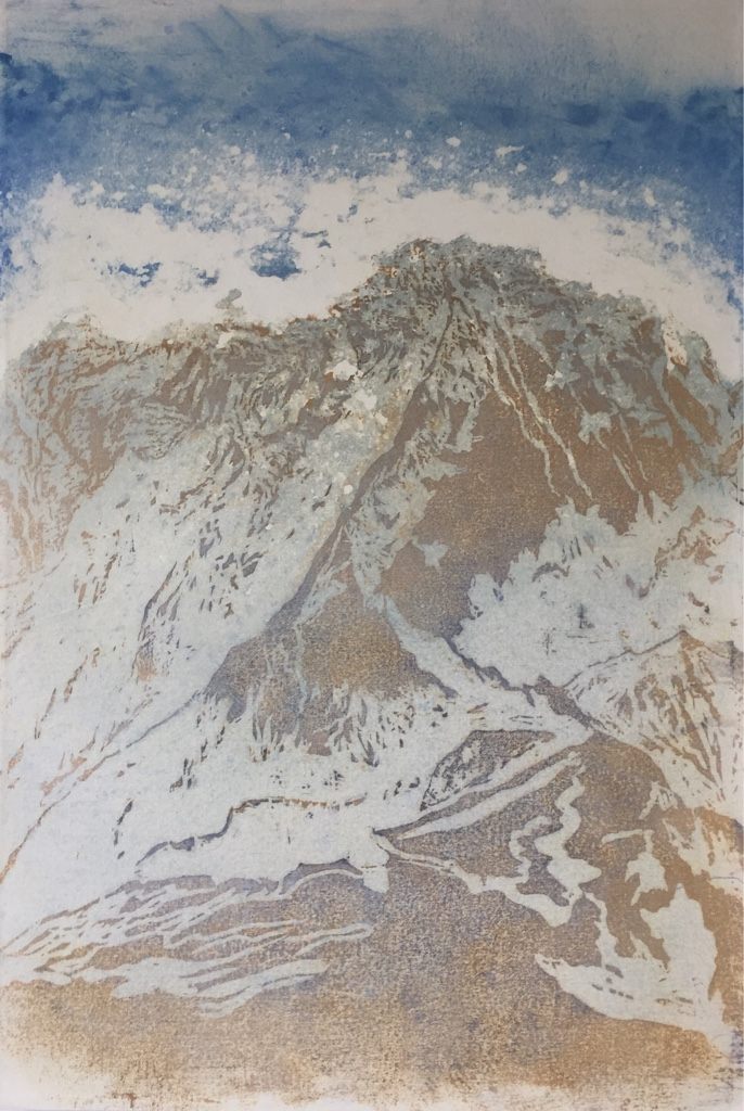 LHOTSE III 2017<br>Wood cut, oil and acryl on handmade paper on MDF 47.2 x 32.5 in.<br>© Kai Luther|VG Bild-Kunst, Bonn 2017
