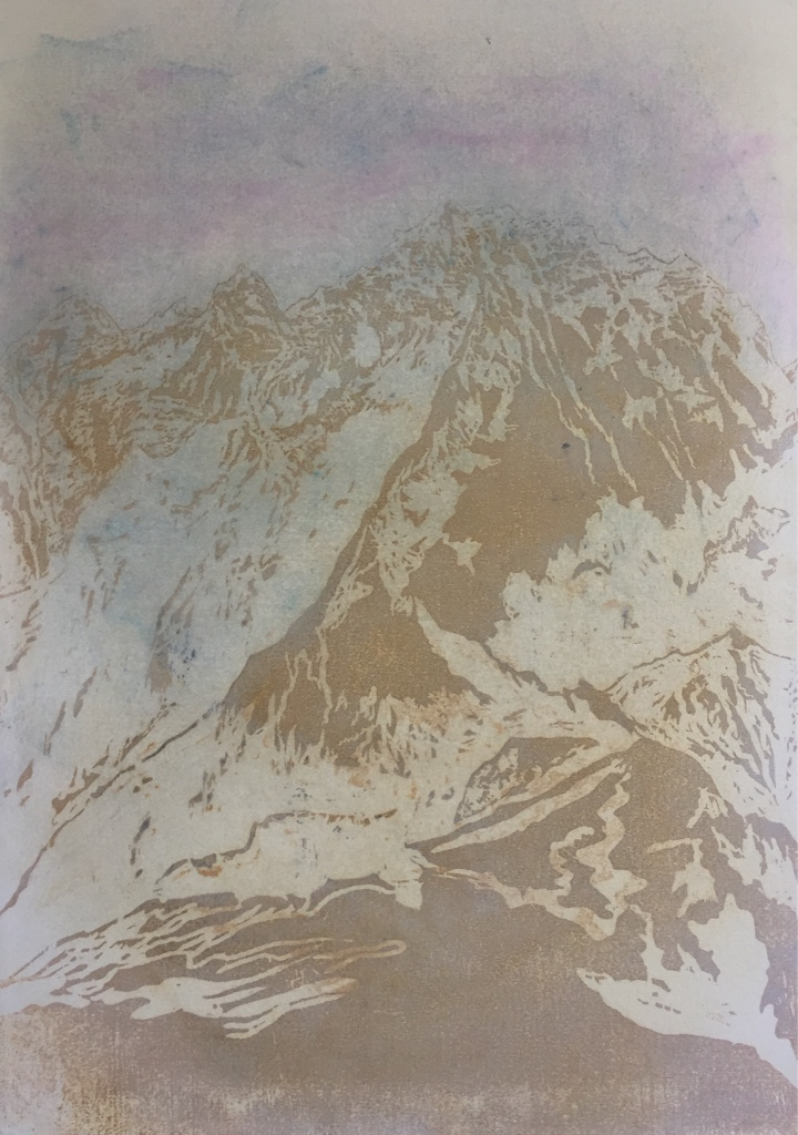 LHOTSE II 2017<br>Wood cut, oil and acryl on handmade paper on MDF 45.7 x 32.5 in.<br>© Kai Luther|VG Bild-Kunst, Bonn 2017