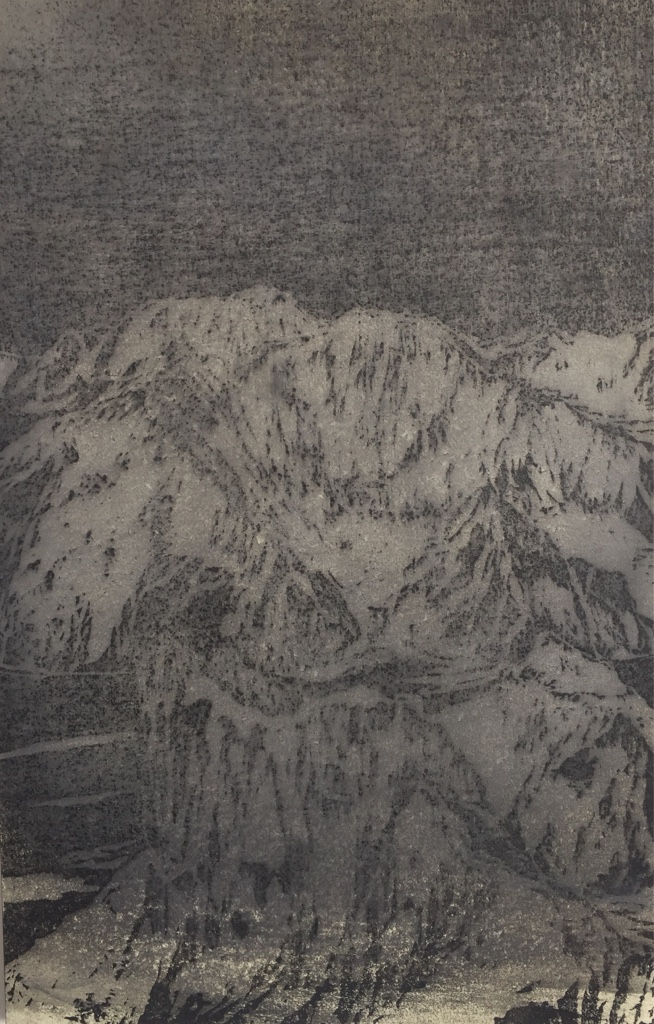 NANGA PARBAT, MAZENO RIDGE III 2017<br>Wood cut, oil and acryl on handmade paper on MDF