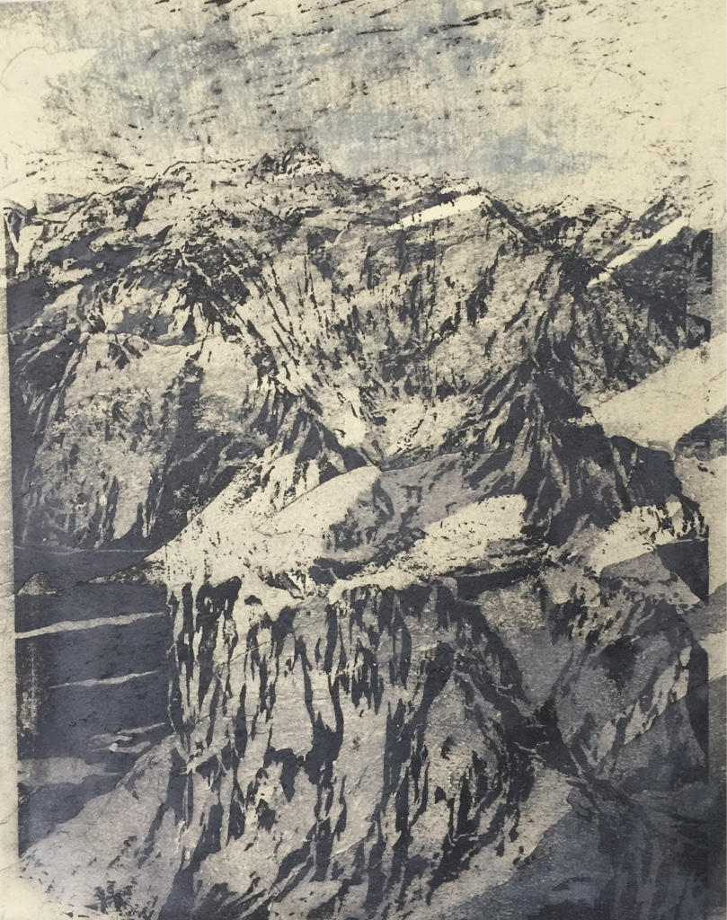 NANGA PARBAT, MAZENO RIDGE IV 2017<br>Wood cut, oil and acryl on handmade paper on MDF
