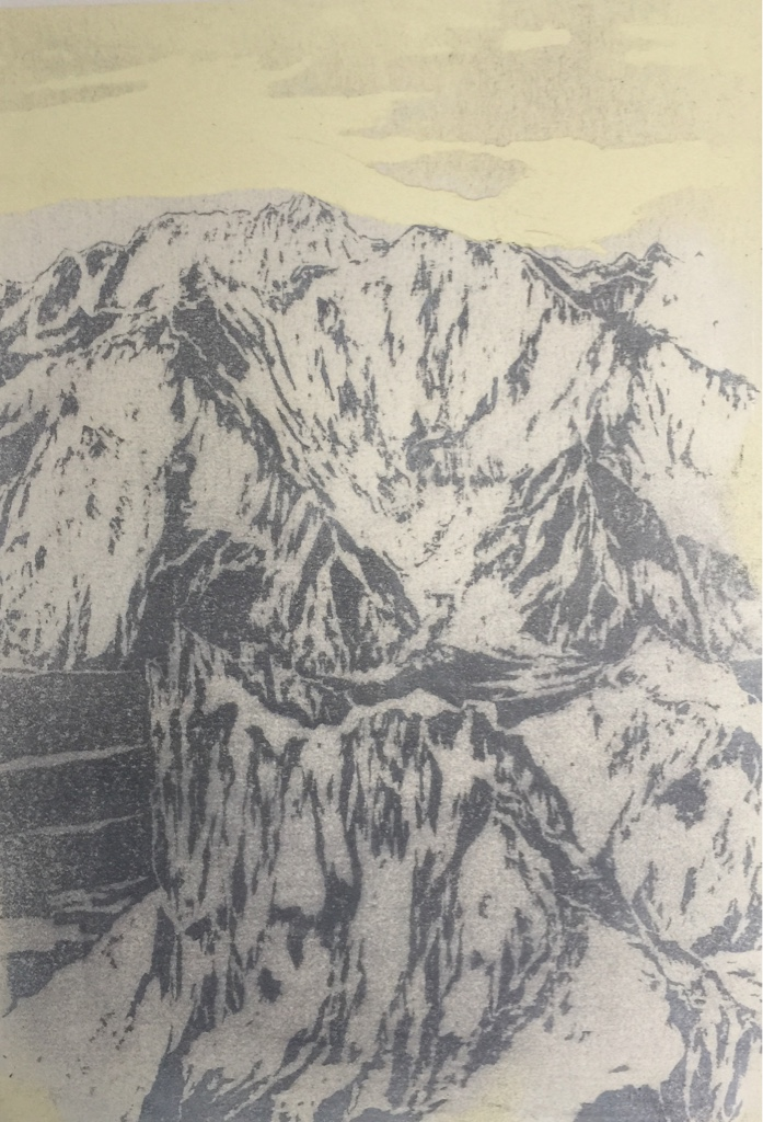 NANGA PARBAT, MAZENO RIDGE I 2017<br>Wood cut, oil and acryl on handmade paper on MDF